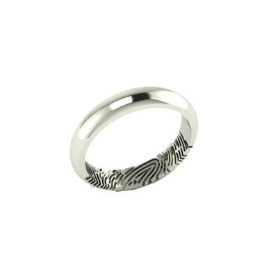 Fingerprint of bride or groom is engraved inside the white gold ring.