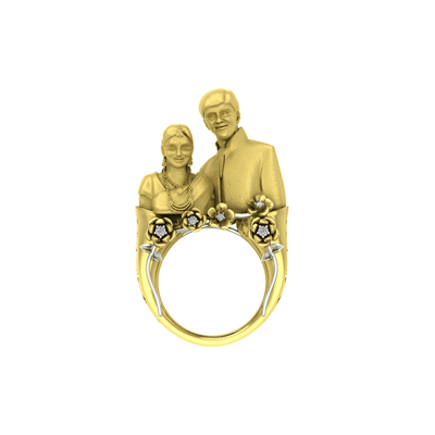 Husband Wife 3d Gold Ring AuGrav