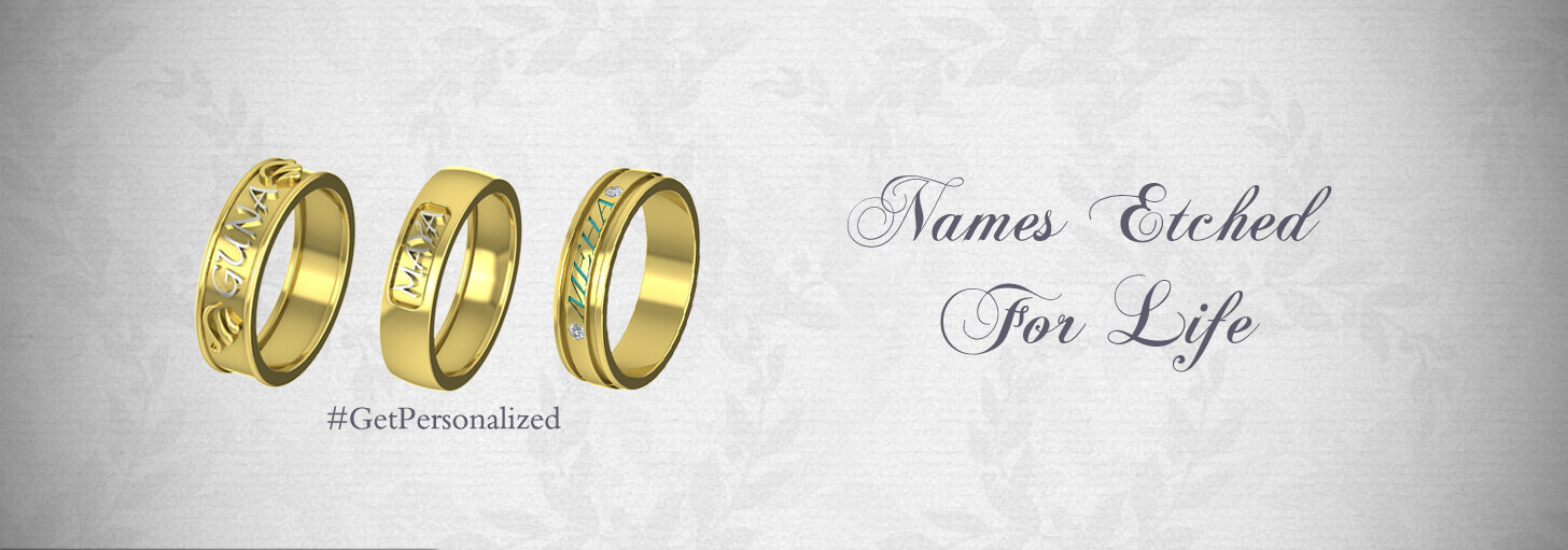 Gold Wedding Rings With Names Engraved in Kolkata