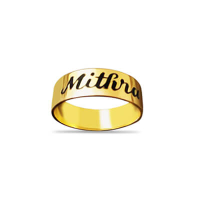 Personalized ring with name engraved outside the ring.