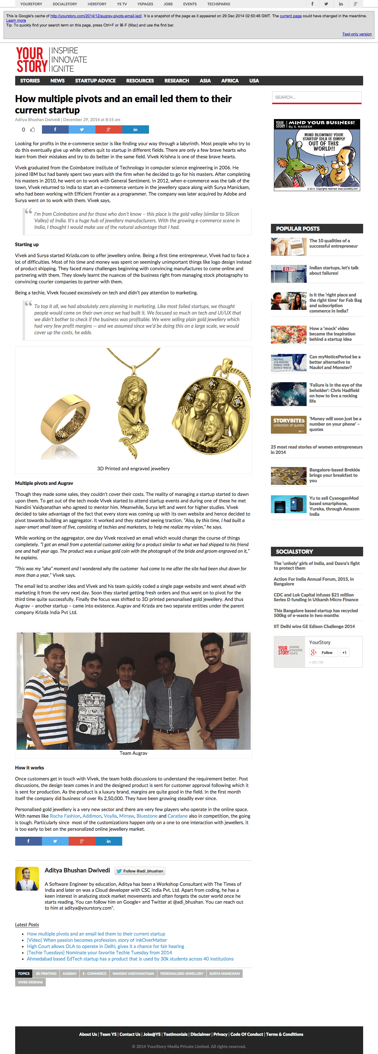 Yourstory Cover - Personalized Gold Jewellery - Augrav.com