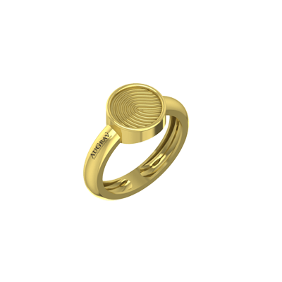 This engagement band is unique because it contains your name or fingerprint.