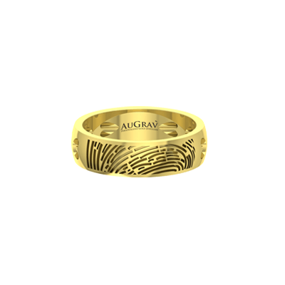 Express your love with hear shaped gold customized anniversary ring.