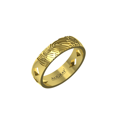 Anniversary band is engraved with bride and groom name or fingerprint.