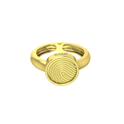 This unique yellow gold ring is women's fingerprint engraved ring.