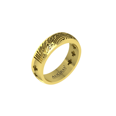 Anniversary Gold Band can be made unique with your name or fingerprint ring.