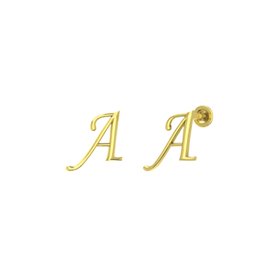 Gold stud earring for women with Alphabet A in online india. Available in 22k and 18K.