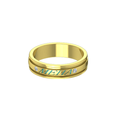 Diamond gold wedding ring with name engraved on top of it for couple.