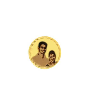 Bride and groom photo is engraved on 18K gold coin. Gift this for housewarming function.