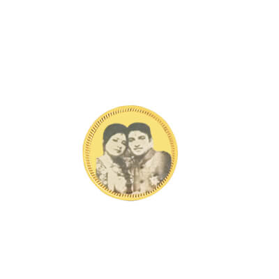 Planning to buy gold coin?. Engrave picture on it. Best gift for wedding friends.