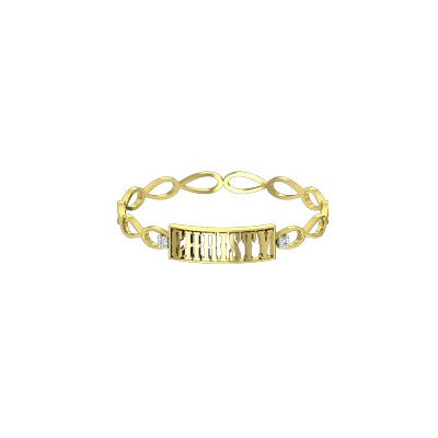 Gold name bracelets with diamond can be customized in yellow and white gold by choosing 18K or 14K gold.