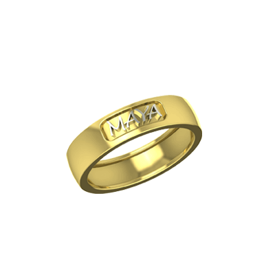 Name gold wedding bands for couple in yellow and white gold