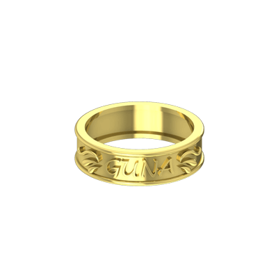 Wedding and engagement rings with name engraved on top of it. Available in 22K,18K yellow gold.