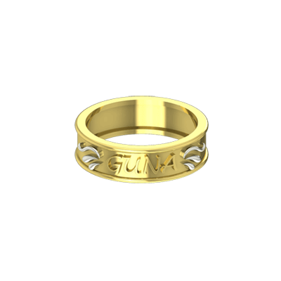 Yellow and white gold rings for women with names. Available in 22K and 18K