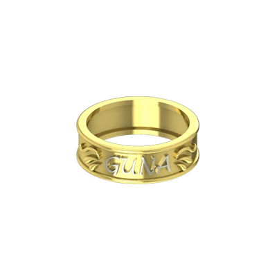 Personalized gold ring with name in white and yellow gold