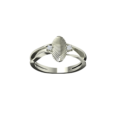 Customized gold ring for women for their wedding and engagement with diamond. Fingerprint is engraved on it