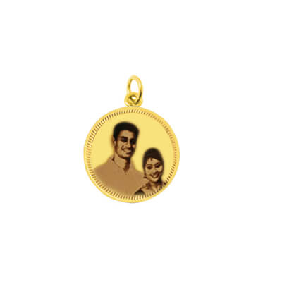 Engrave parents photo on gold coin and present this on on their anniversary