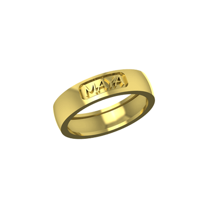 Indian wedding ring with name engraved for couple. Available in yellow and white gold.