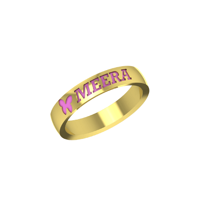Yellow gold Ring with childs name engraved. Check out latest designs