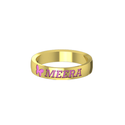 Finger ring with name etched on it in india online. Available in 22K and 18K white gold
