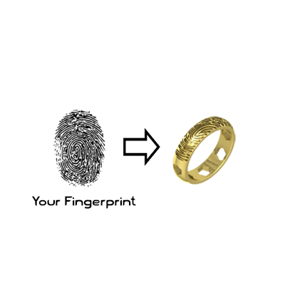 Your fingerprint can be made as a gold ring. Available in yellow and white. Can be engraved both inside and outside
