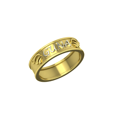 White and Yellow gold anniversary rings with name on top of it. Best for husband and wife