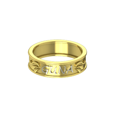 Funky Couple name rings in white and yellow gold. best for wedding and engagement