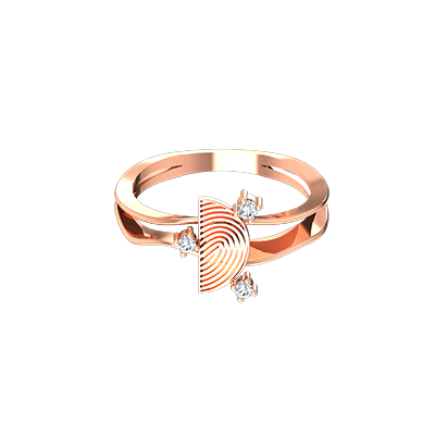 Unique gold engagement ring for women for her wedding and anniversary with fingerprint printed.