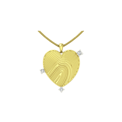 Customized diamond heart shaped pendant for him in yellow and white gold in 18K and 22K.