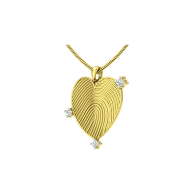 Gold Diamond Heart Pendant Online for wife and husband couple. Custom made gold pendant in india at its best price.