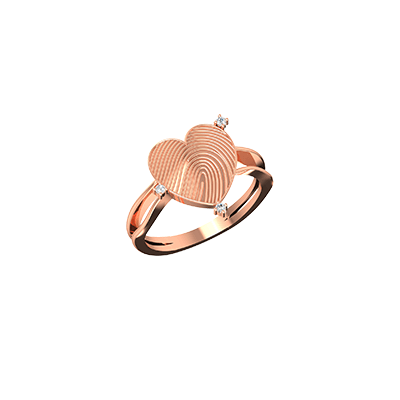 Personalized rings in india with fingerprint in rose gold. available in 18K and 22k. Personalize with your fingerprint ring