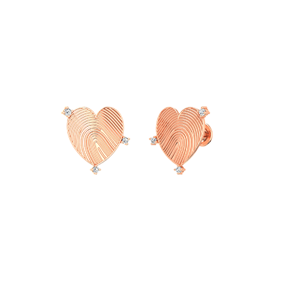 18K Heart shaped gold earring for women and girlfriend. Customize with fingerprint engraving on earring stud