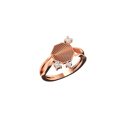 Mens rose gold wedding ring with diamond. Customize with 18K and 22K.