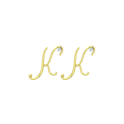 Letter K initial diamond stud earring in gold for girls. Available in Yellow and white gold.