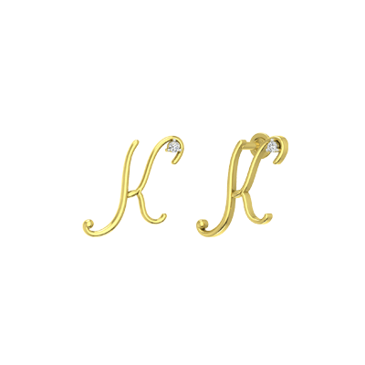 Buy alphabet stud earrings with letter K in online. Personalize with 22k or 18K