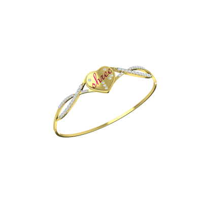 Gold Diamond bracelets for women in heart shape can be customized with white and yellow gold with name.