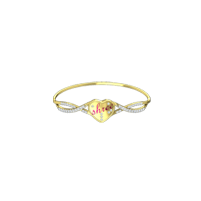 Heart shaped yellow gold bracelet with diamond can be personalized with name of your wife,husband,girl,mom online india.