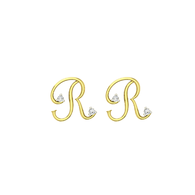 Letter R Small gold stud earring with diamond. Customize with yello or white gold.