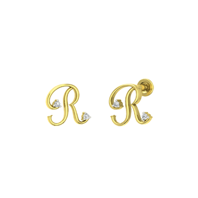 Alphabet R small diamond gold stud for baby girl. Custom made with 22K and 18K