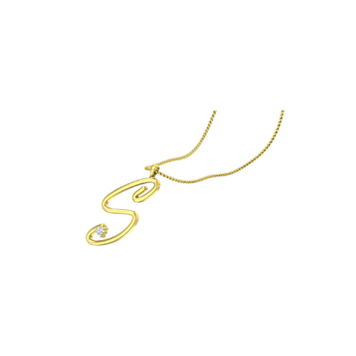 Gold Initial S pendant For Women in Online at augrav. Availble in yellow and white gold.