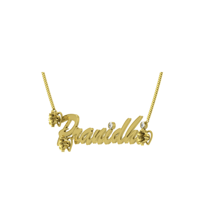 Custom Gold Chain And Pendant With name. Diamond name pendants in 18K and 22k. Free shipping across India