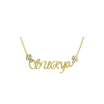 Yellow gold pendant necklace with kids names available in 18k and 22K gold. Customize with your kids name in india