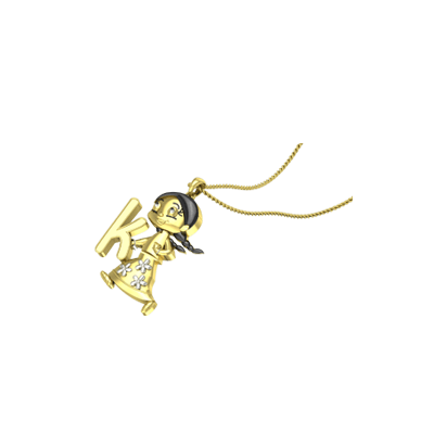 Unique Cartoon Character Gold Pendant with your baby boy or girl initial. Free shipping in chennai,mumbai,delhi,pune and kolkata.