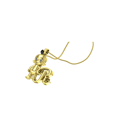 Personalized Gold Pendant With Cartoon Character. Personalized pendants for your son or daughter birthday
