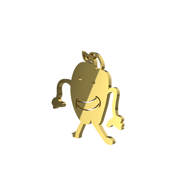 Drawing yellow gold pendant for kids birthday. Unique gift for your son/daughter.