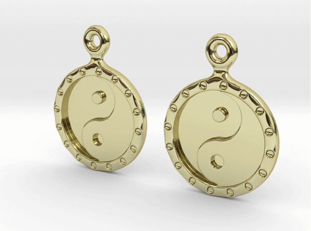 3D Printed YinYang EarRings - 18K