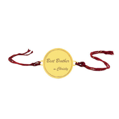 Shop best cpersonalized gold rakhi for brothers in online india. best shopping experience and free shipping across India