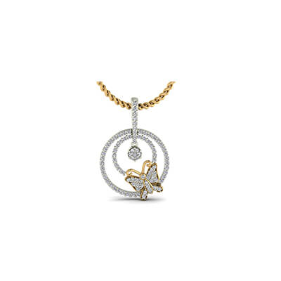 Latest gold pendant design with butterfly for baby girl and women in india at best price
