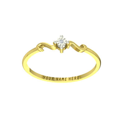 Diamond anniversary ring for husband with name engraved inside gold ring