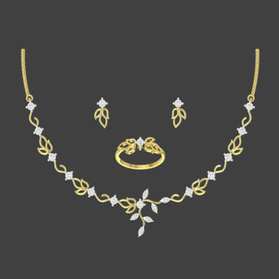 Classic Diamond Necklace Set AuGrav